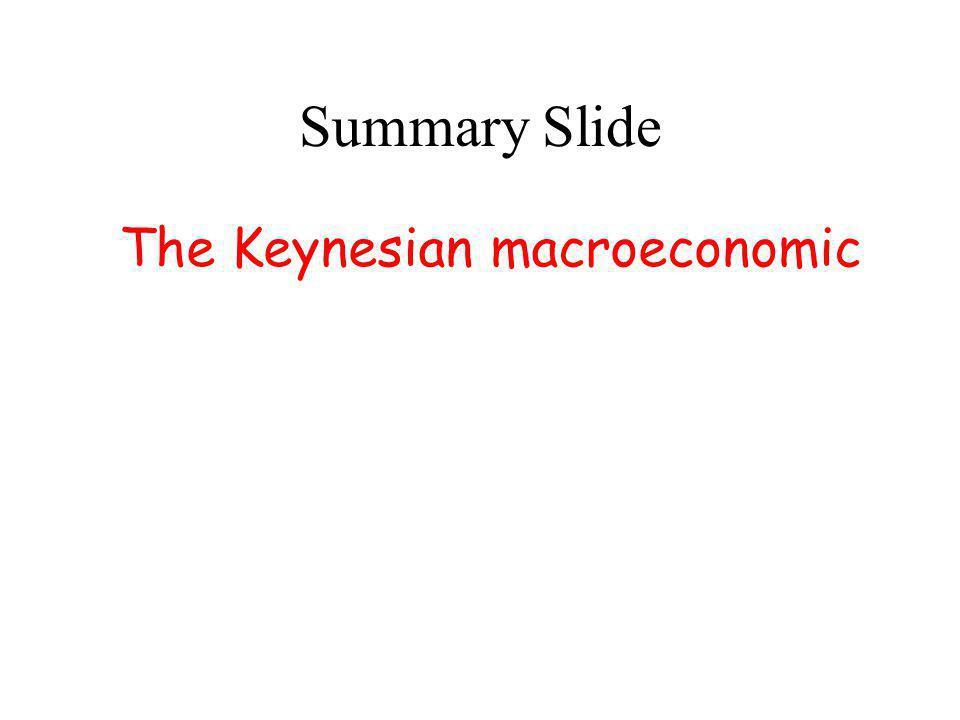 Summary Slide The Keynesian macroeconomic