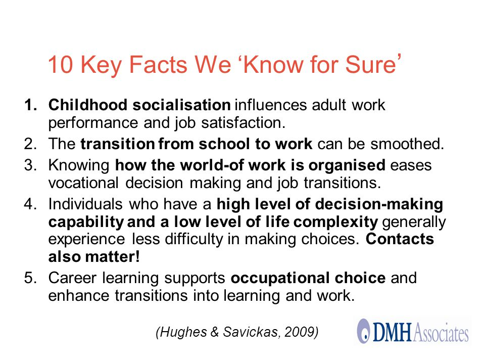 10 Key Facts We Know for Sure Childhood socialisation influences adult work performance and job satisfaction.