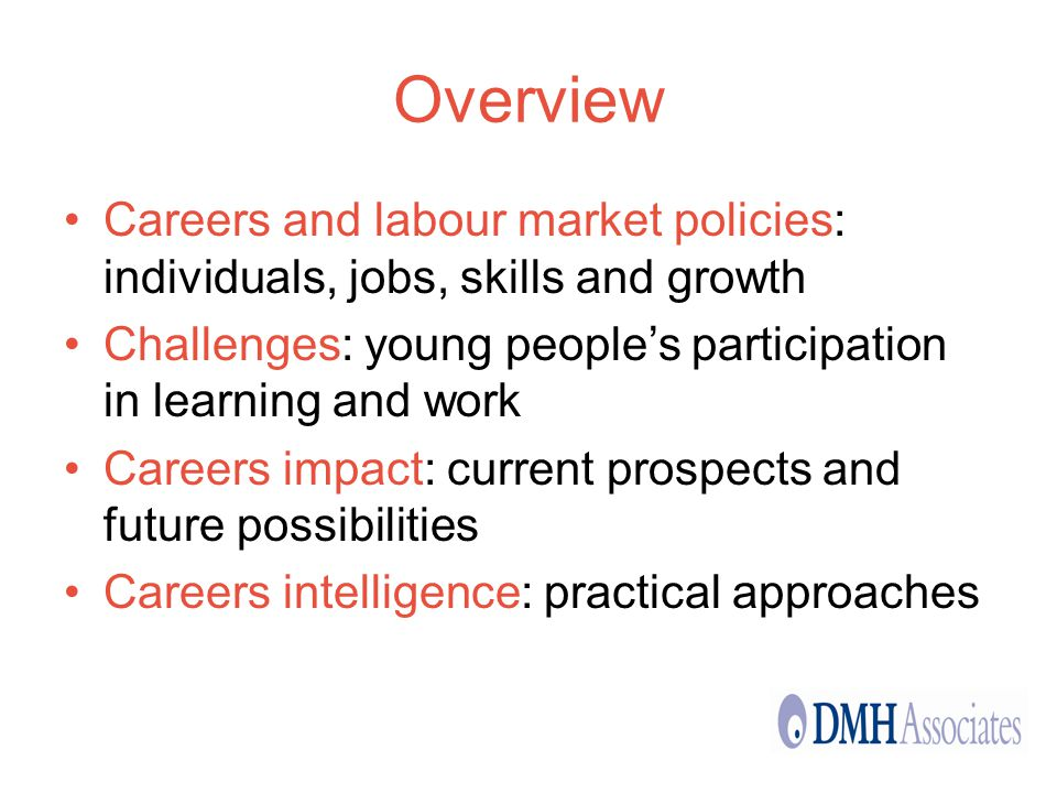Overview Careers and labour market policies: individuals, jobs, skills and growth Challenges: young peoples participation in learning and work Careers impact: current prospects and future possibilities Careers intelligence: practical approaches