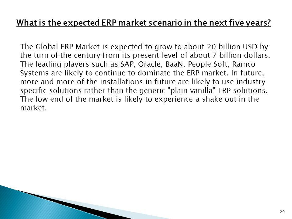 29 What is the expected ERP market scenario in the next five years? The Global ERP Market is expected to grow to about 20 billion USD by the turn of t