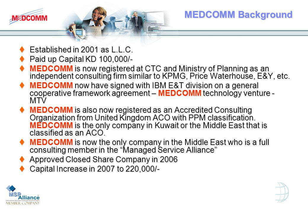 MEDCOMM Background Established in 2001 as L.L.C. Established in 2001 as L.L.C.