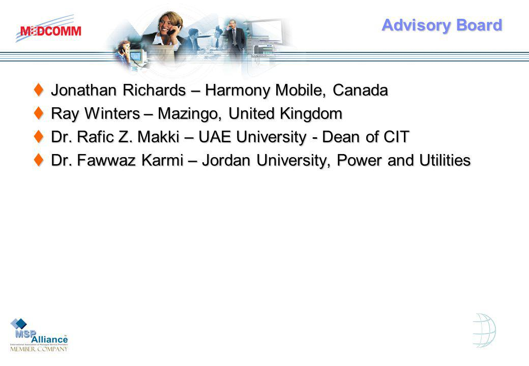 Advisory Board Jonathan Richards – Harmony Mobile, Canada Jonathan Richards – Harmony Mobile, Canada Ray Winters – Mazingo, United Kingdom Ray Winters – Mazingo, United Kingdom Dr.