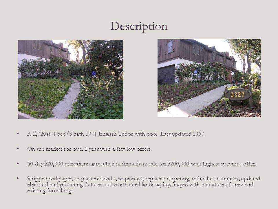 Description A 2,720sf 4 bed/3 bath 1941 English Tudor with pool. Last updated 1967. On the market for over 1 year with a few low offers. 30-day $20,00