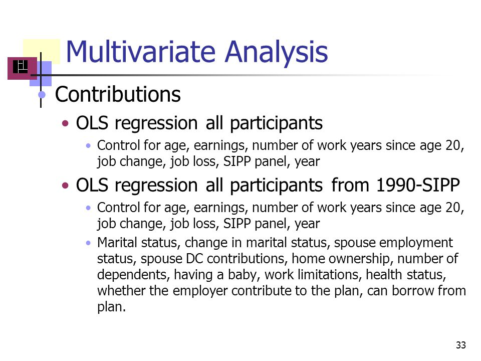 Multivariate Analysis Contributions OLS regression all participants Control for age, earnings, number of work years since age 20, job change, job loss, SIPP panel, year OLS regression all participants from 1990-SIPP Control for age, earnings, number of work years since age 20, job change, job loss, SIPP panel, year Marital status, change in marital status, spouse employment status, spouse DC contributions, home ownership, number of dependents, having a baby, work limitations, health status, whether the employer contribute to the plan, can borrow from plan.