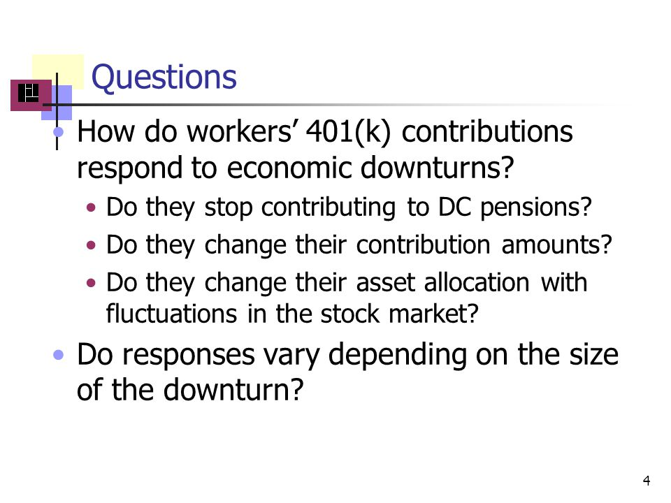 Questions How do workers 401(k) contributions respond to economic downturns.