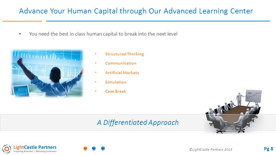 ©LightCastle Partners 2013 Advance Your Human Capital through Our Advanced Learning Center You need the best in class human capital to break into the next level A Differentiated Approach Structured Thinking Communication Artificial Markets Simulation Case Break Pg 8