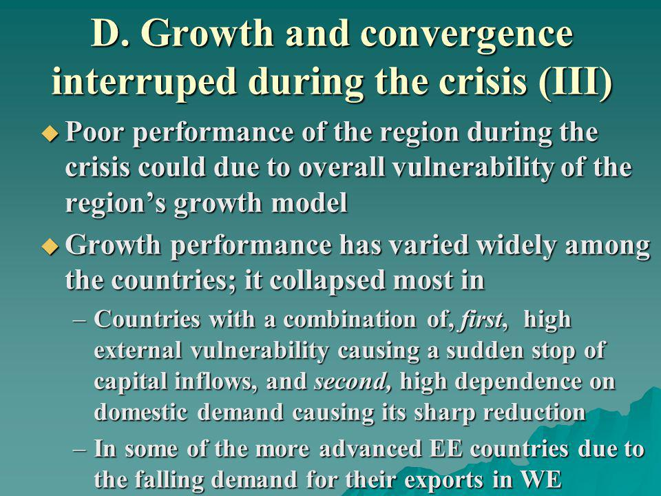 D. Growth and convergence interruped during the crisis (III) Poor performance of the region during the crisis could due to overall vulnerability of th