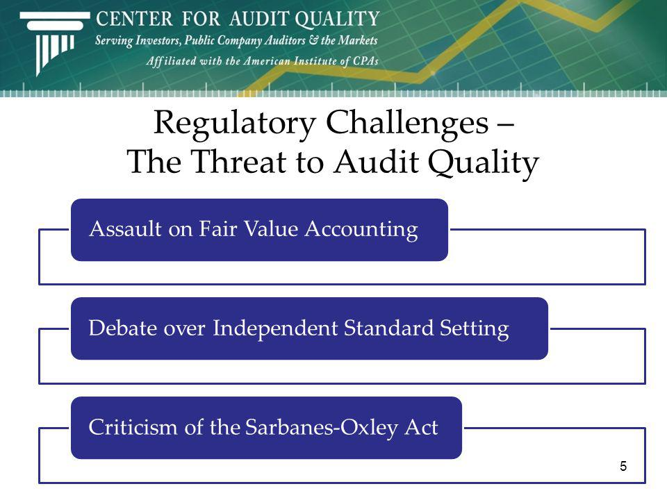 Regulatory Challenges – The Threat to Audit Quality Assault on Fair Value AccountingDebate over Independent Standard SettingCriticism of the Sarbanes-Oxley Act 5