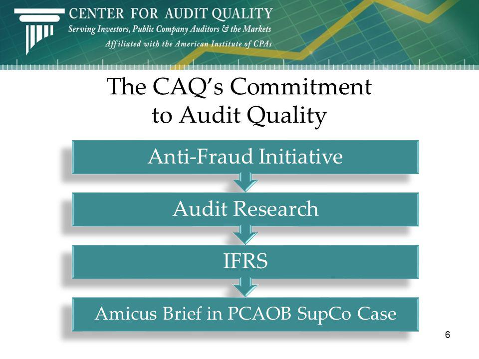 7 The CAQs Anti-Fraud Initiative Deterring and detecting fraud is a shared responsibility Tone at the top is critical Boards and audit committees must maintain skepticism SOX has created environments that are less conducive to fraud