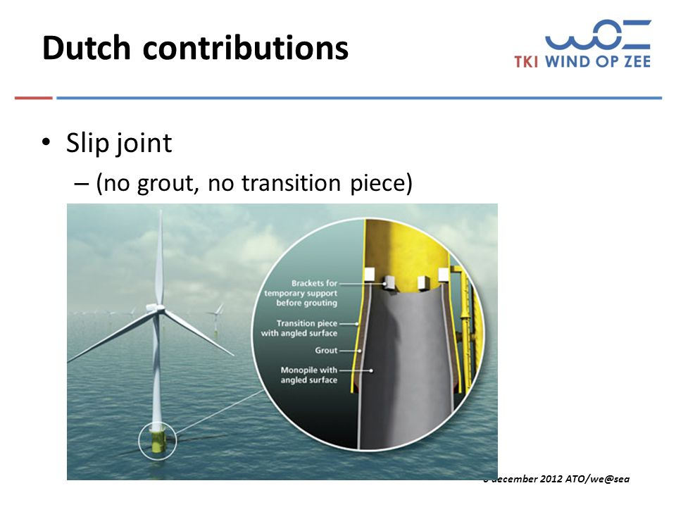 6 december 2012 ATO/we@sea Dutch contributions Slip joint – (no grout, no transition piece)