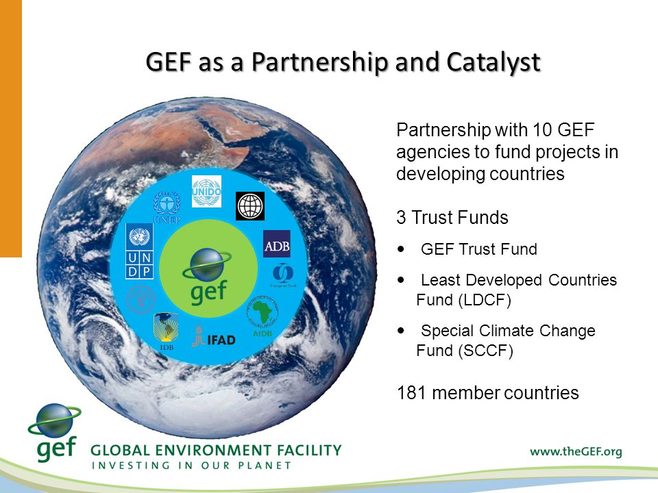 GEF as a Partnership and Catalyst Partnership with 10 GEF agencies to fund projects in developing countries 3 Trust Funds GEF Trust Fund Least Developed Countries Fund (LDCF) Special Climate Change Fund (SCCF) 181 member countries