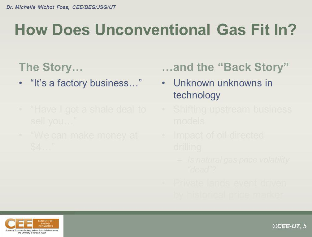 ©CEE-UT, 5 Dr. Michelle Michot Foss, CEE/BEG/JSG/UT How Does Unconventional Gas Fit In? The Story… Its a factory business… Have I got a shale deal to