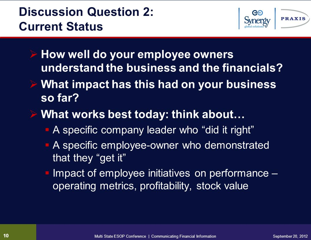 Discussion Question 2: Current Status How well do your employee owners understand the business and the financials.