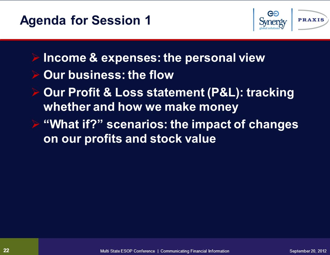 Agenda for Session 1 Income & expenses: the personal view Our business: the flow Our Profit & Loss statement (P&L): tracking whether and how we make money What if.