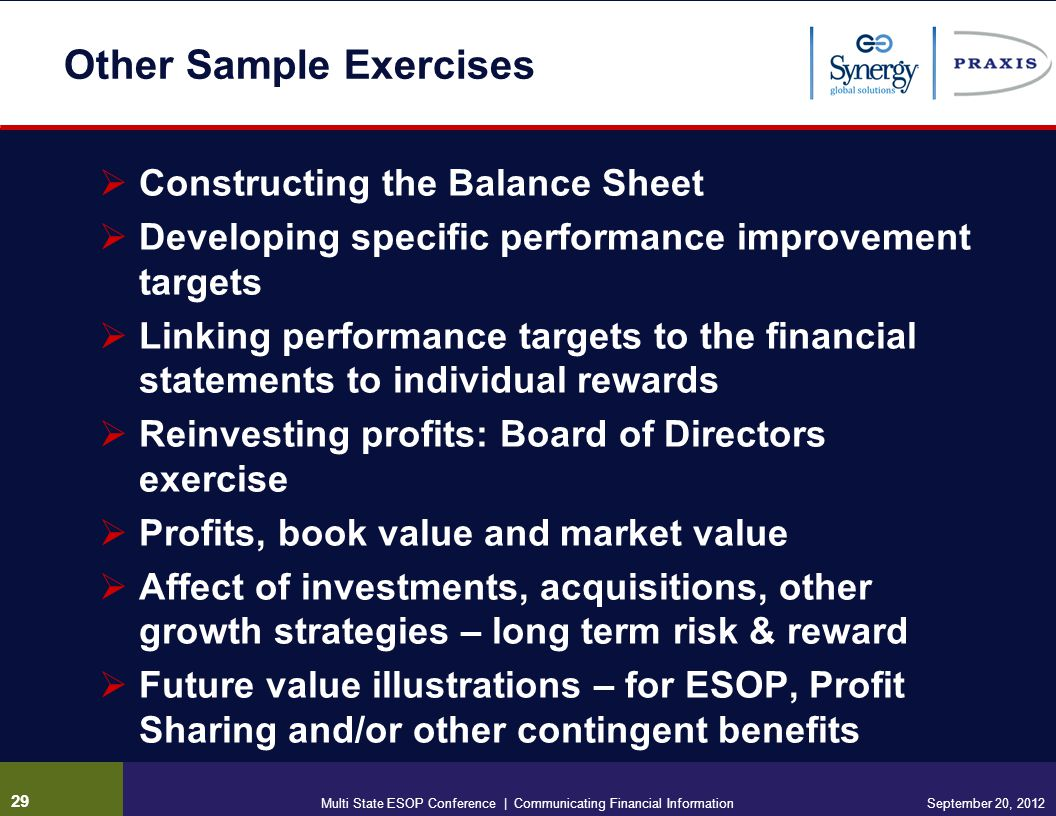 Other Sample Exercises Constructing the Balance Sheet Developing specific performance improvement targets Linking performance targets to the financial statements to individual rewards Reinvesting profits: Board of Directors exercise Profits, book value and market value Affect of investments, acquisitions, other growth strategies – long term risk & reward Future value illustrations – for ESOP, Profit Sharing and/or other contingent benefits 29 September 20, 2012Multi State ESOP Conference | Communicating Financial Information