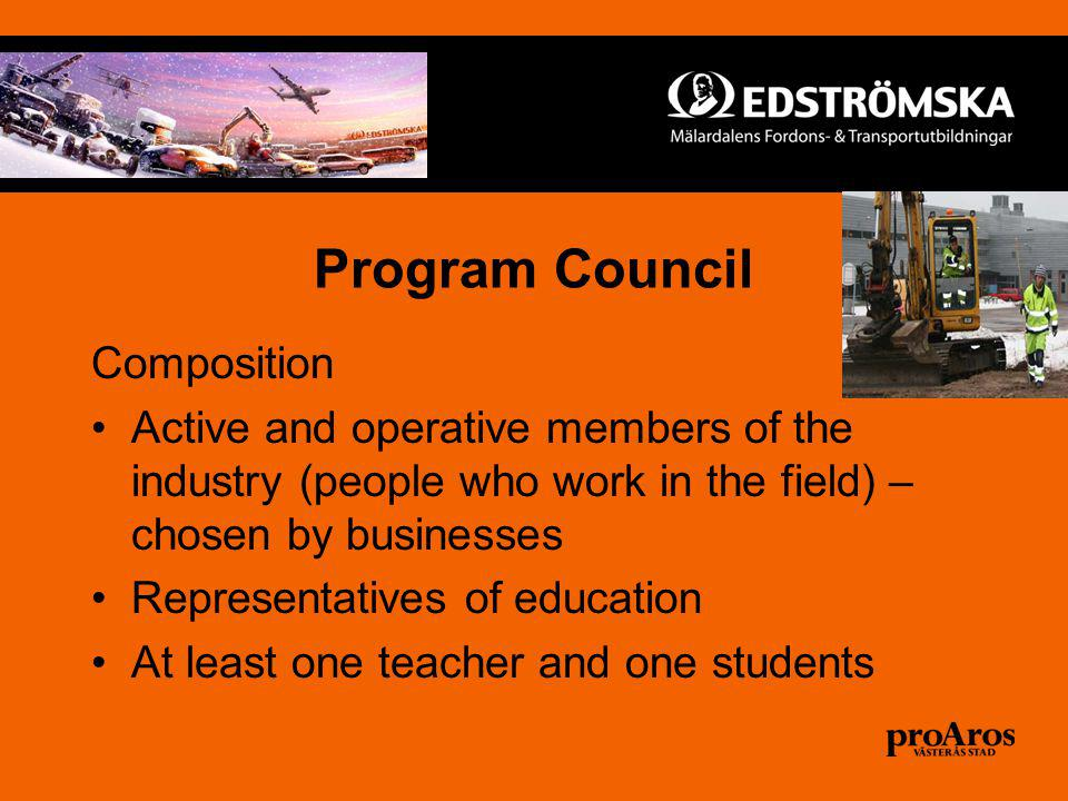 Program Council Composition Active and operative members of the industry (people who work in the field) – chosen by businesses Representatives of education At least one teacher and one students