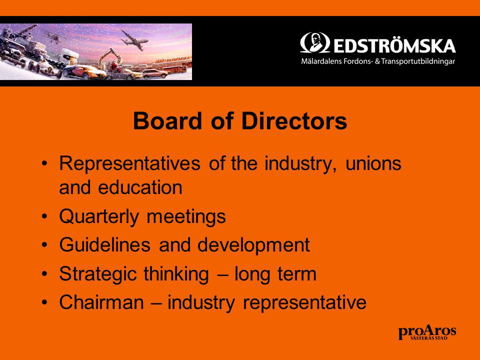 Board of Directors Representatives of the industry, unions and education Quarterly meetings Guidelines and development Strategic thinking – long term Chairman – industry representative