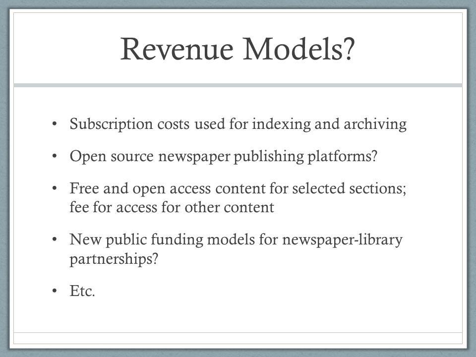 Revenue Models.