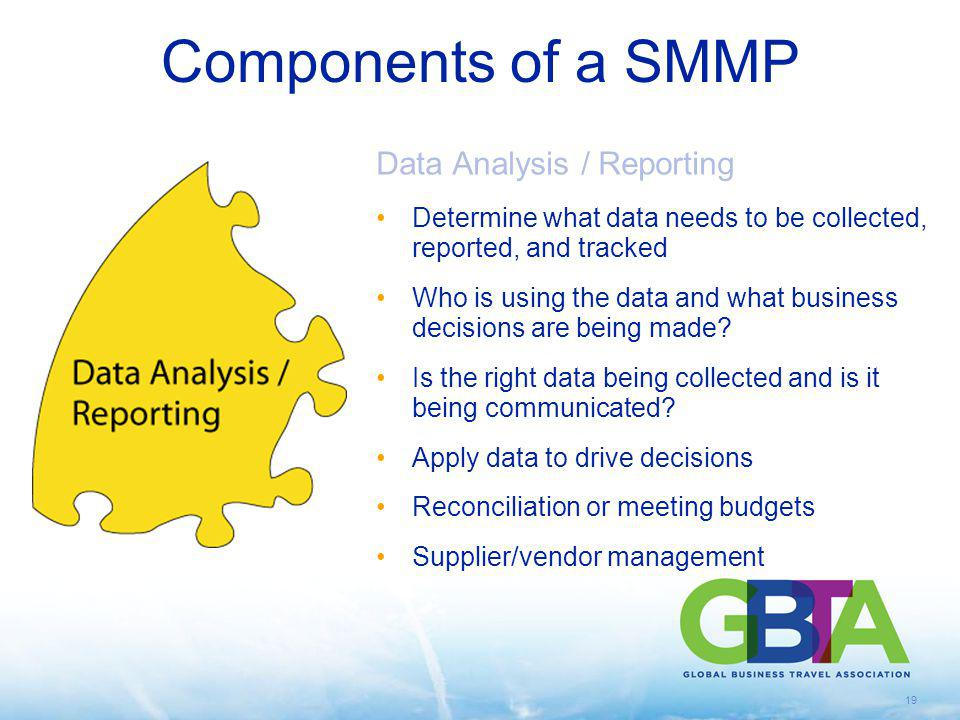 19 Data Analysis / Reporting Determine what data needs to be collected, reported, and tracked Who is using the data and what business decisions are be
