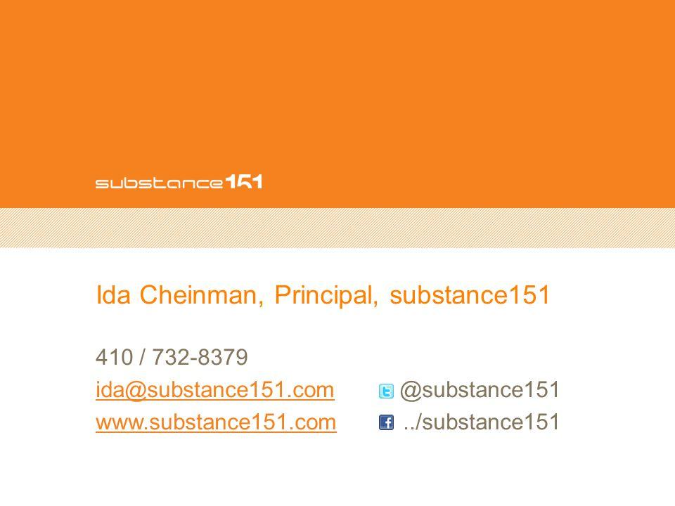 Ida Cheinman, Principal, substance151 410 / 732-8379 ida@substance151.comida@substance151.com @substance151 www.substance151.comwww.substance151.com../substance151