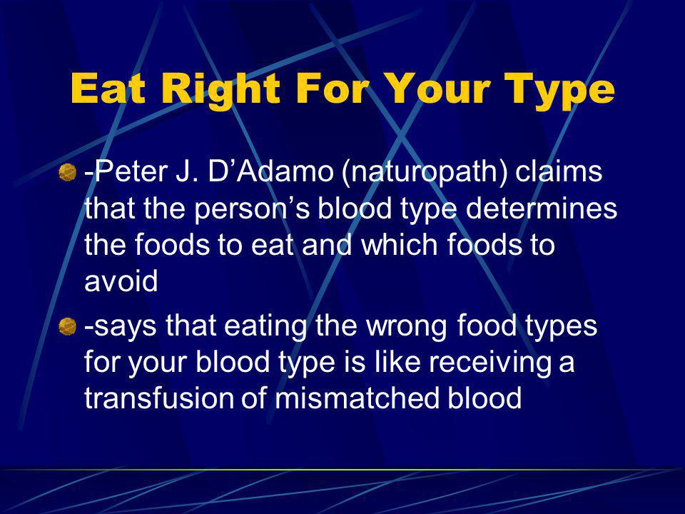 Eat Right For Your Type -Peter J.