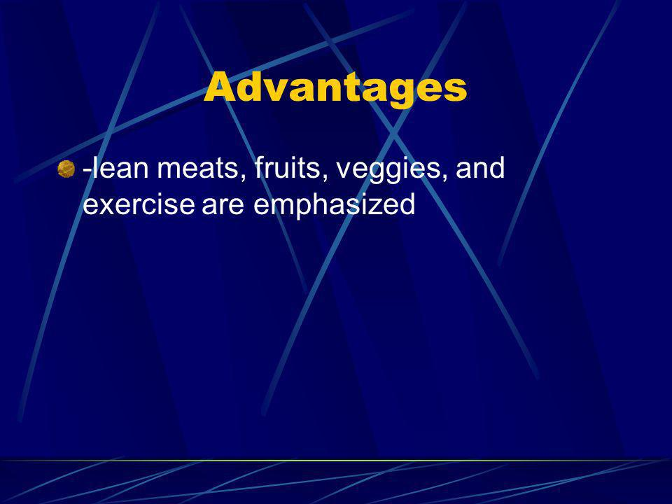 Advantages -lean meats, fruits, veggies, and exercise are emphasized