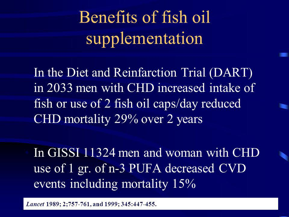 Benefits of fish oil supplementation In the Diet and Reinfarction Trial (DART) in 2033 men with CHD increased intake of fish or use of 2 fish oil caps