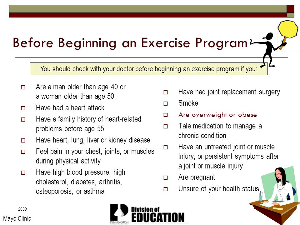 2009 Before Beginning an Exercise Program Are a man older than age 40 or a woman older than age 50 Have had a heart attack Have a family history of he