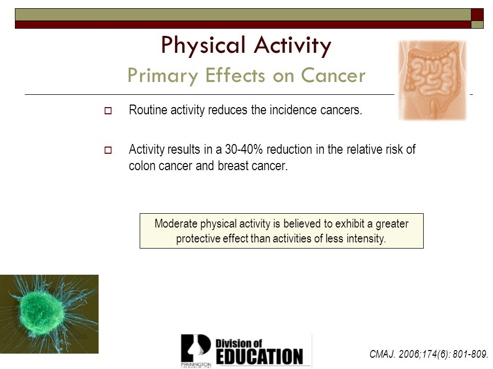 2009 Physical Activity Primary Effects on Cancer Routine activity reduces the incidence cancers. Activity results in a 30-40% reduction in the relativ
