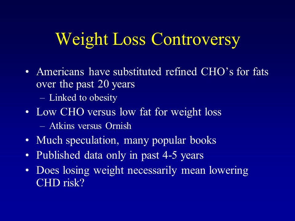 Weight Loss Controversy Americans have substituted refined CHOs for fats over the past 20 years –Linked to obesity Low CHO versus low fat for weight l