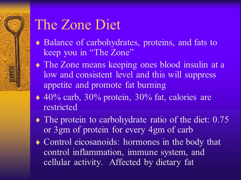 The Zone: Dr. Barry Sears Goal is to combat insulin resistance and alter eicosanoid levels – hormonal messengers Eicosanoids are produced by the body