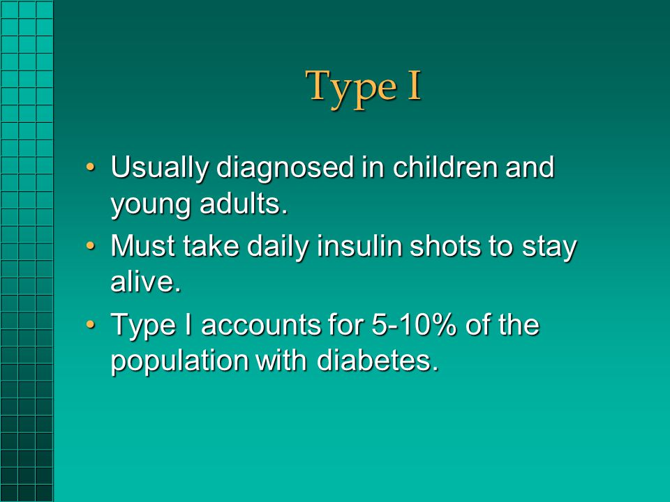 Type I Usually diagnosed in children and young adults.Usually diagnosed in children and young adults. Must take daily insulin shots to stay alive.Must