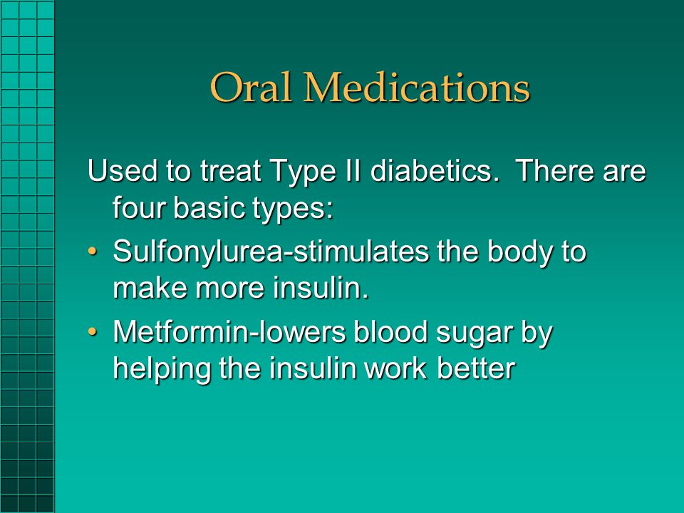 Oral Medications Used to treat Type II diabetics. There are four basic types: Sulfonylurea-stimulates the body to make more insulin.Sulfonylurea-stimu