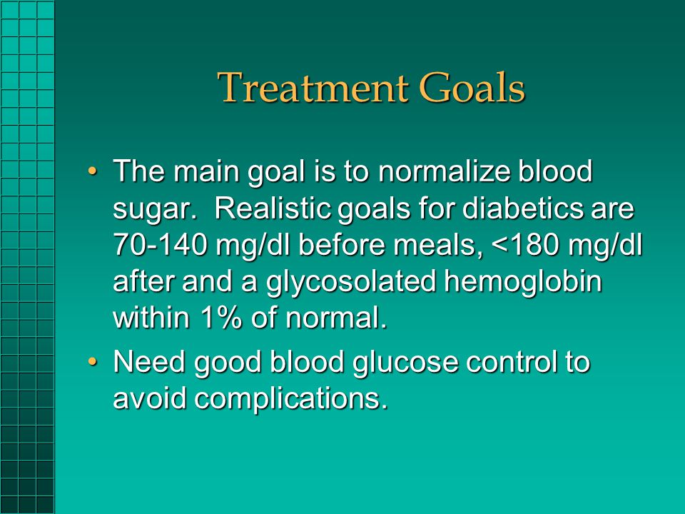 Treatment Goals The main goal is to normalize blood sugar. Realistic goals for diabetics are 70-140 mg/dl before meals, <180 mg/dl after and a glycoso