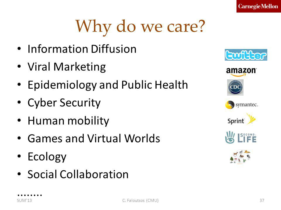 Why do we care? Information Diffusion Viral Marketing Epidemiology and Public Health Cyber Security Human mobility Games and Virtual Worlds Ecology So