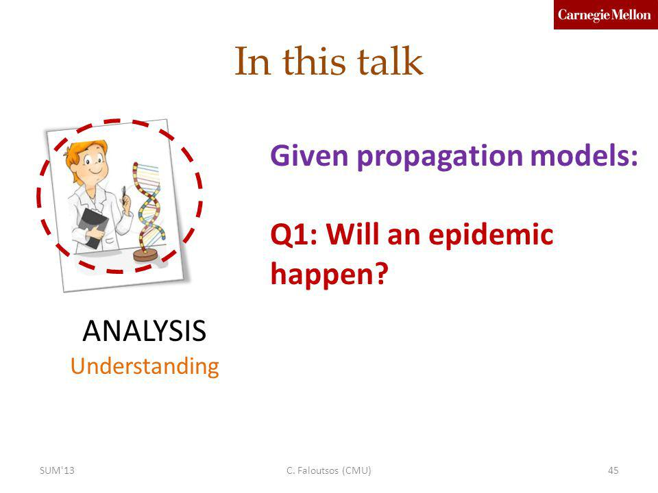 In this talk ANALYSIS Understanding Given propagation models: Q1: Will an epidemic happen? C. Faloutsos (CMU)45SUM'13