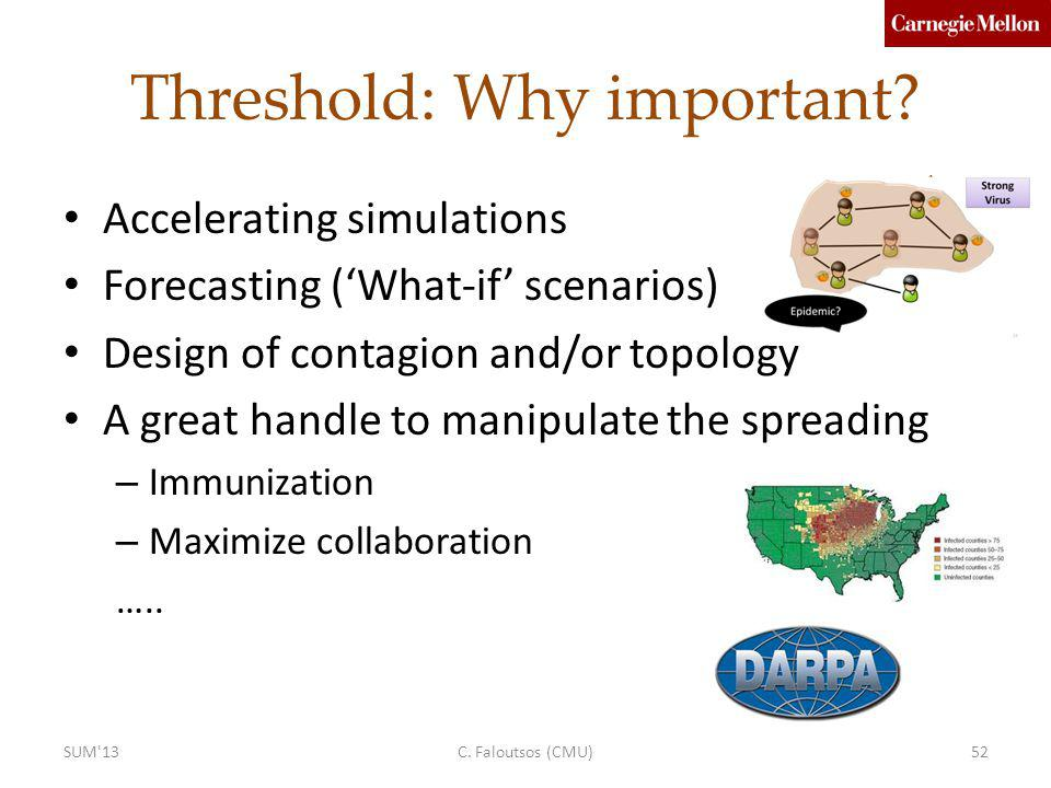 Threshold: Why important? Accelerating simulations Forecasting (What-if scenarios) Design of contagion and/or topology A great handle to manipulate th