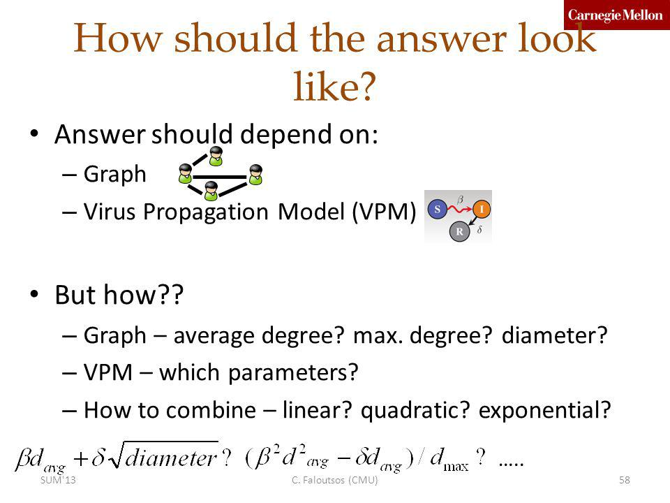How should the answer look like? Answer should depend on: – Graph – Virus Propagation Model (VPM) But how?? – Graph – average degree? max. degree? dia