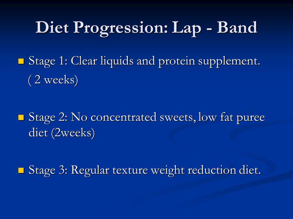 Diet Progression: Lap - Band Stage 1: Clear liquids and protein supplement. Stage 1: Clear liquids and protein supplement. ( 2 weeks) ( 2 weeks) Stage