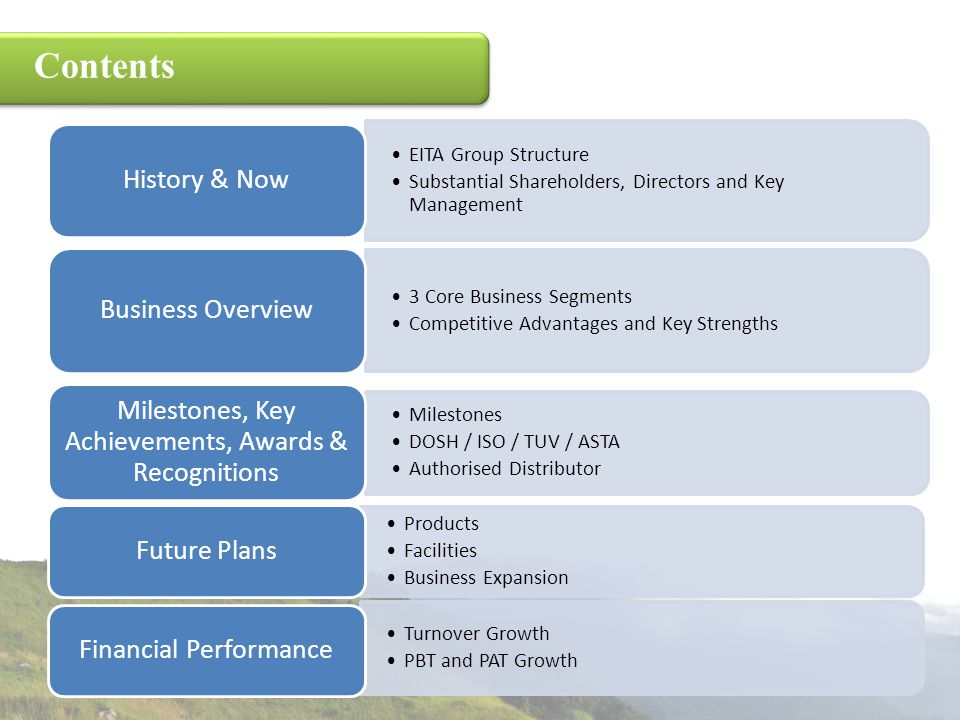 Contents EITA Group Structure Substantial Shareholders, Directors and Key Management History & Now 3 Core Business Segments Competitive Advantages and