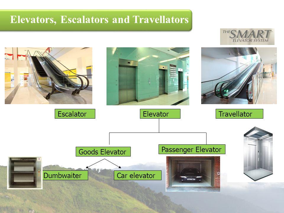 Elevators, Escalators and Travellators EscalatorElevatorTravellator Passenger Elevator Goods Elevator DumbwaiterCar elevator