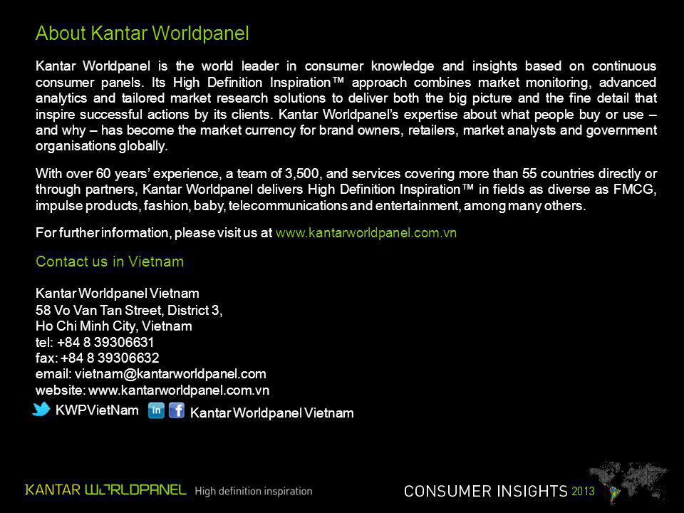 About Kantar Worldpanel Kantar Worldpanel is the world leader in consumer knowledge and insights based on continuous consumer panels.