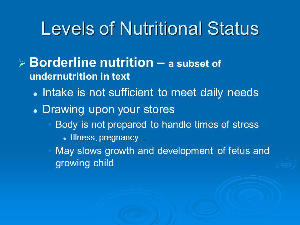 Levels of Nutritional Status Borderline nutrition – a subset of undernutrition in text Intake is not sufficient to meet daily needs Drawing upon your