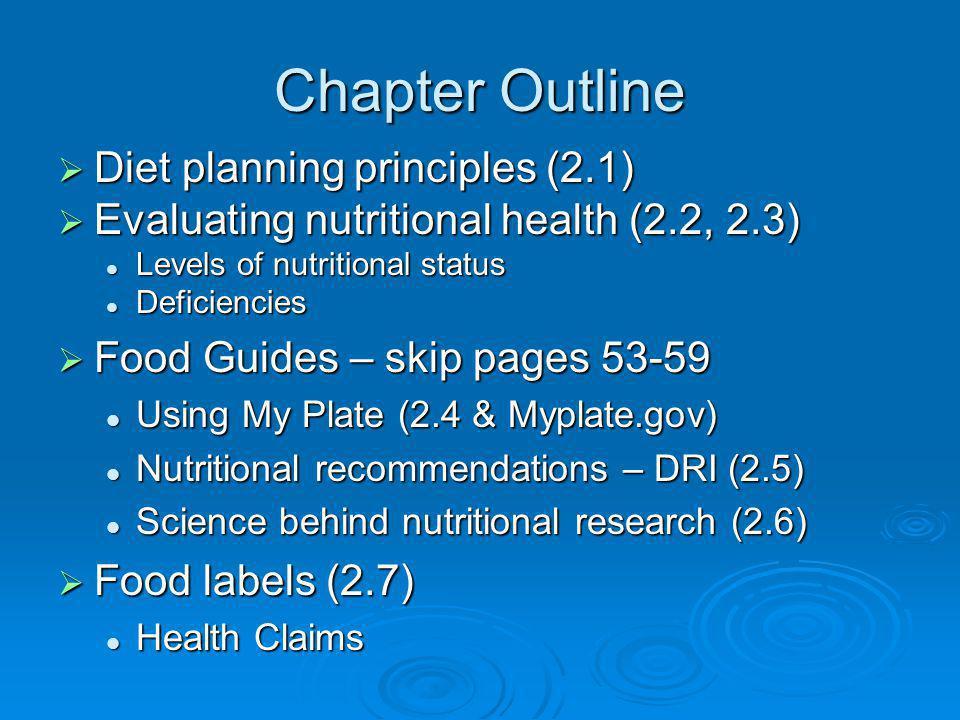Chapter Outline Diet planning principles (2.1) Diet planning principles (2.1) Evaluating nutritional health (2.2, 2.3) Evaluating nutritional health (