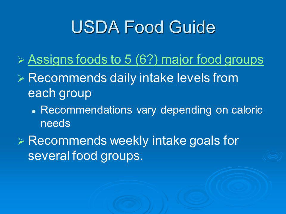 USDA Food Guide Assigns foods to 5 (6?) major food groups Recommends daily intake levels from each group Recommendations vary depending on caloric nee
