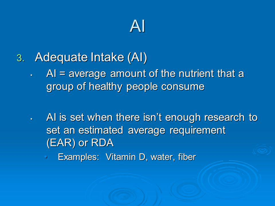 AI 3. Adequate Intake (AI) AI = average amount of the nutrient that a group of healthy people consume AI = average amount of the nutrient that a group