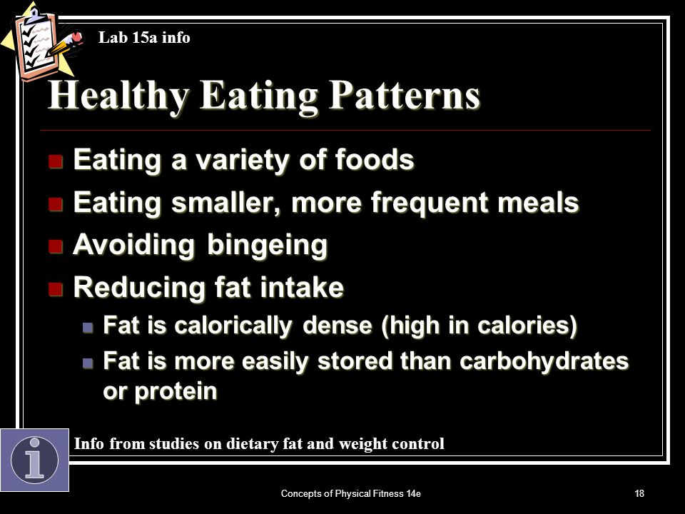 Concepts of Physical Fitness 14e18 Healthy Eating Patterns Eating a variety of foods Eating a variety of foods Eating smaller, more frequent meals Eating smaller, more frequent meals Avoiding bingeing Avoiding bingeing Reducing fat intake Reducing fat intake Fat is calorically dense (high in calories) Fat is calorically dense (high in calories) Fat is more easily stored than carbohydrates or protein Fat is more easily stored than carbohydrates or protein Lab 15a info Info from studies on dietary fat and weight control