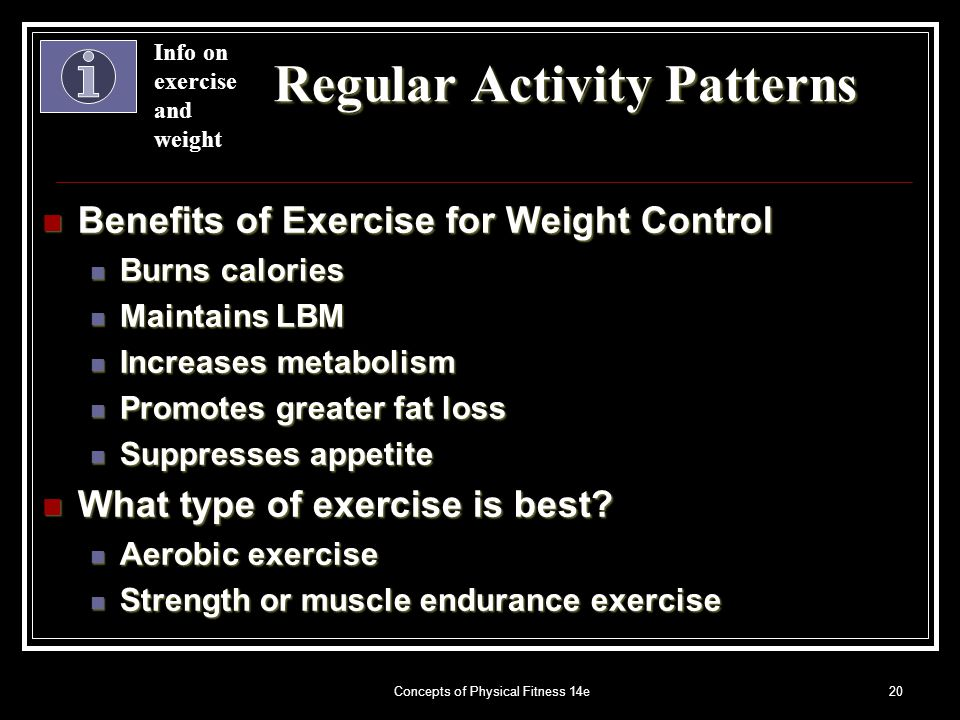 Concepts of Physical Fitness 14e20 Regular Activity Patterns Benefits of Exercise for Weight Control Benefits of Exercise for Weight Control Burns calories Burns calories Maintains LBM Maintains LBM Increases metabolism Increases metabolism Promotes greater fat loss Promotes greater fat loss Suppresses appetite Suppresses appetite What type of exercise is best.