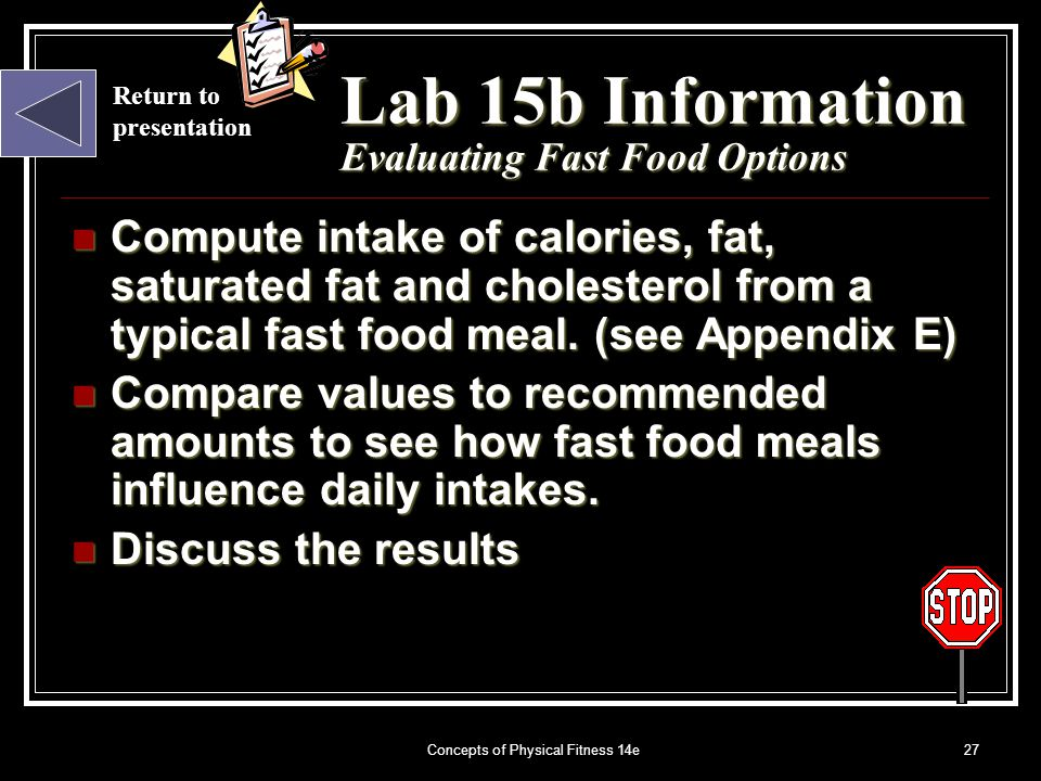 Concepts of Physical Fitness 14e27 Return to presentation Lab 15b Information Evaluating Fast Food Options Compute intake of calories, fat, saturated fat and cholesterol from a typical fast food meal.