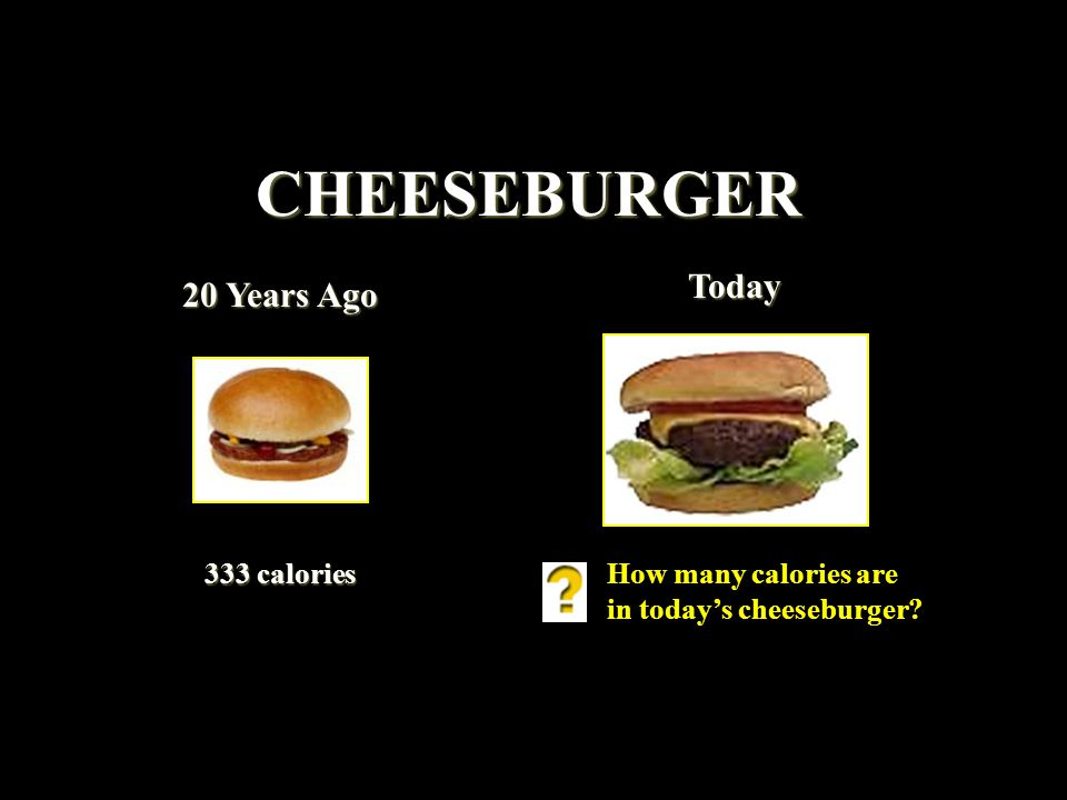 CHEESEBURGER 20 Years Ago Today 333 calories How many calories are in todays cheeseburger